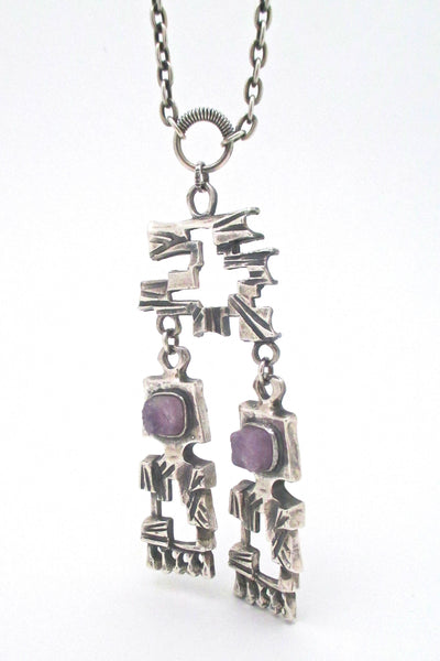 detail Pentti Sarpaneva for Turun Hopea Finland large brutalist kinetic silver amethyst pendant necklace