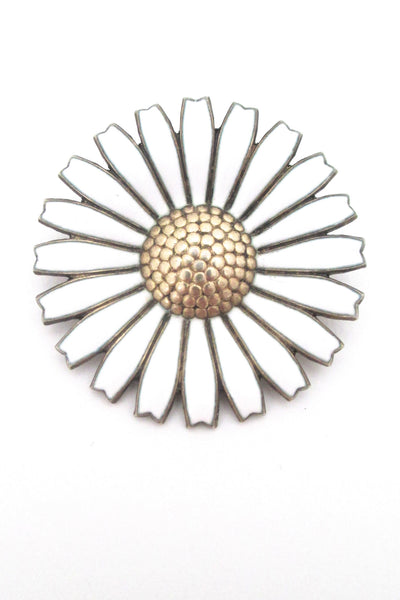 Anton Michelsen Denmark large Marguerite daisy brooch at Samantha Howard Vintage