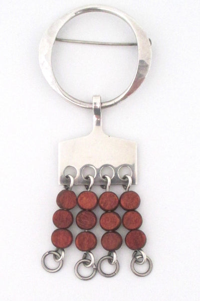 Anna Greta Eker silver & wood kinetic brooch