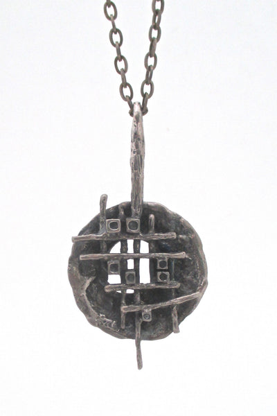detail Robert Larin Canada vintage brutalist pewter grid pendant necklace wearable sculpture