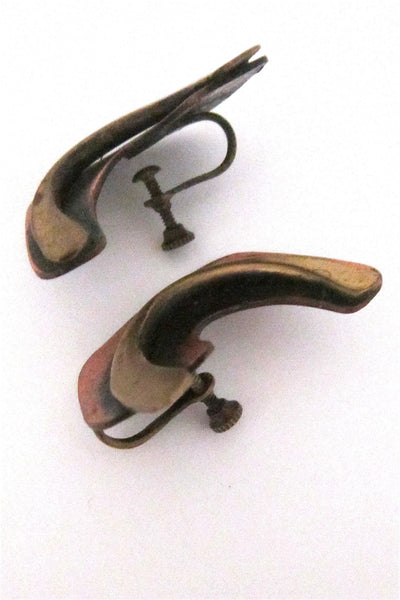 Art Smith large copper & brass earrings - signed