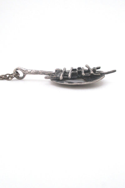 profile Robert Larin Canada vintage brutalist pewter grid pendant necklace wearable sculpture