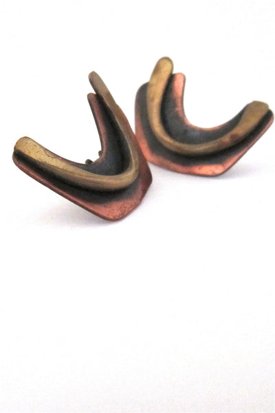 Art Smith American Modernist signed copper & brass earrings