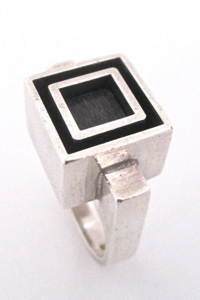 detail Alton Sweden vintage Scandinavian Modernist heavy silver & ebony ring