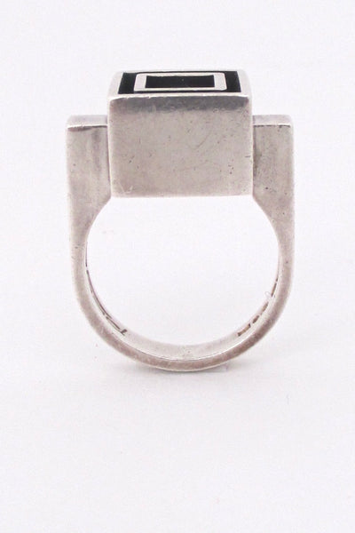 profile Alton Sweden vintage Scandinavian Modernist heavy silver & ebony ring
