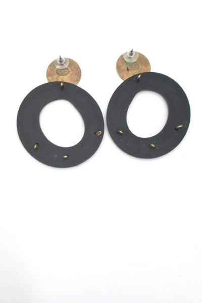 Martha Sturdy brass & resin drop earrings - large
