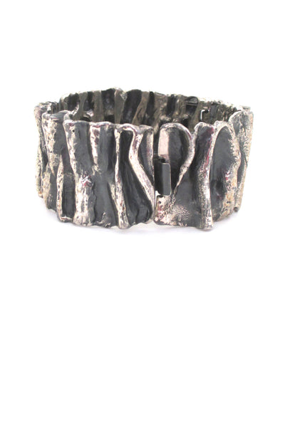 Guy Vidal 'gathered folds' pewter hinged bracelet
