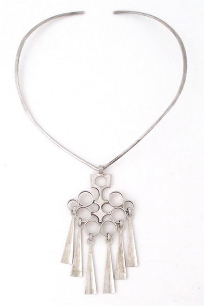 David-Andersen Norway vintage silver Scandinavian Modernist pendant and neck ring necklace