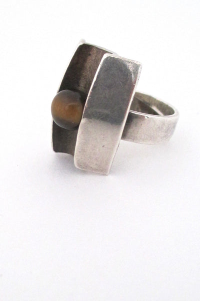 profile Matti Hyvarinen Finland vintage Scandinavian Modernist silver and tiger eye ring 1974