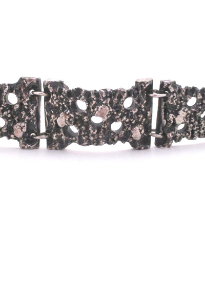 detail Robert Larin Canada vintage textured and pierced pewter panel link bracelet