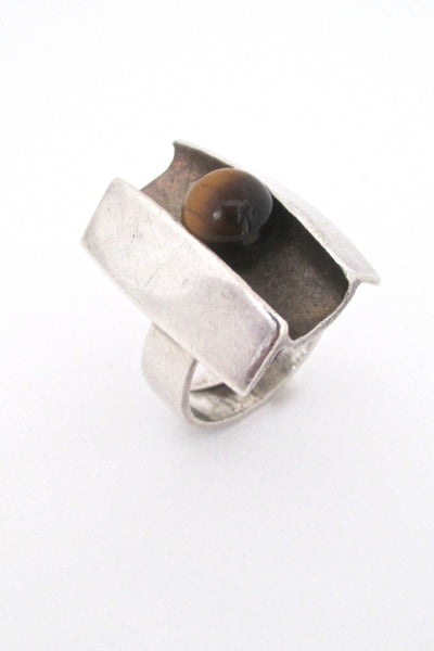 Matti Hyvarinen Finland 1974 tiger eye ring at Samantha Howard Vintage