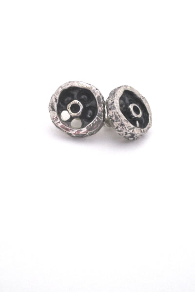 detail Guy Vidal Canada vintage pewter shadowbox circle post earrings