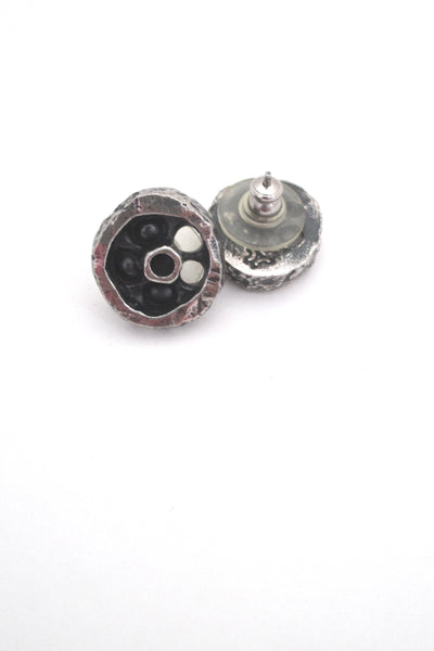 Guy Vidal 'shadowbox circle' post earrings