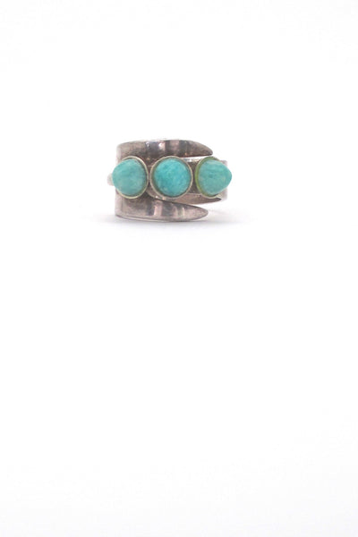 David-Andersen Norway vintage silver triple amazonite wrap ring