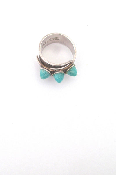 profile David-Andersen Norway vintage silver triple amazonite wrap ring