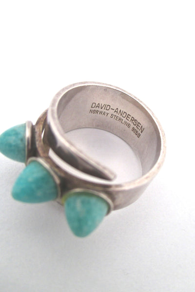 David-Andersen triple amazonite wrap ring