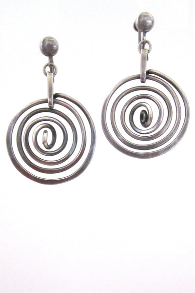 Henry Steig American Modernist early sterling silver drop earrings