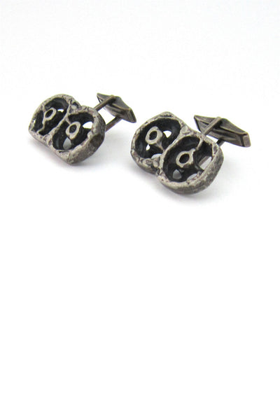 "Guy Vidal Canada pewter ""wheels"" cufflinks"