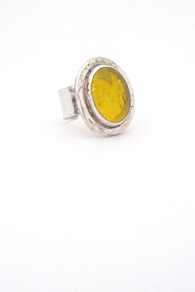 Rafael Alfandary Canada vintage sterling silver and lemon yellow ring