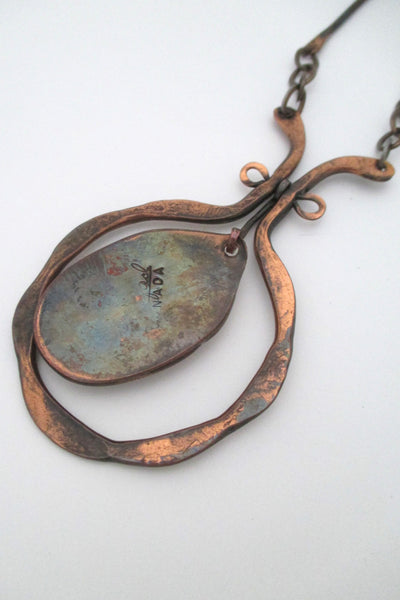 Rafael Canada large copper & water blue kinetic pendant necklace