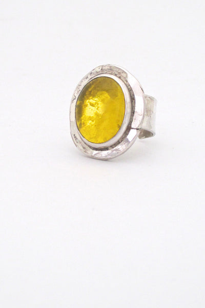 profile Rafael Alfandary Canada vintage sterling silver and lemon yellow ring