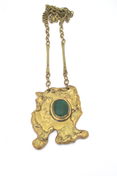 Rafael Canada large sculptural brass pendant necklace - clear green stone