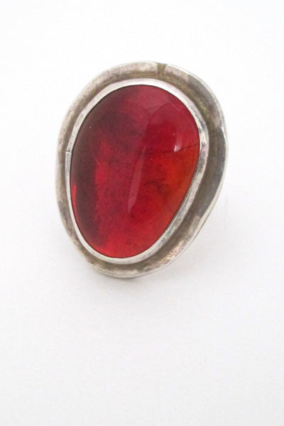 detail Rafael Alfandary Canada large vintage brutalist sterling silver and clear red ring