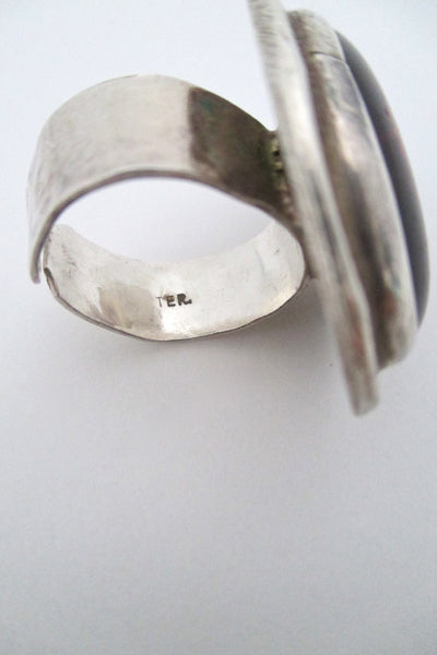 Rafael Canada large sterling silver and clear red ring
