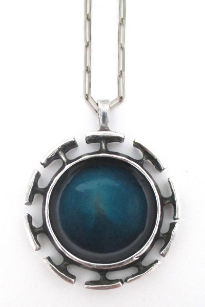 Bernard Chaudron large 'blue sun' pendant necklace