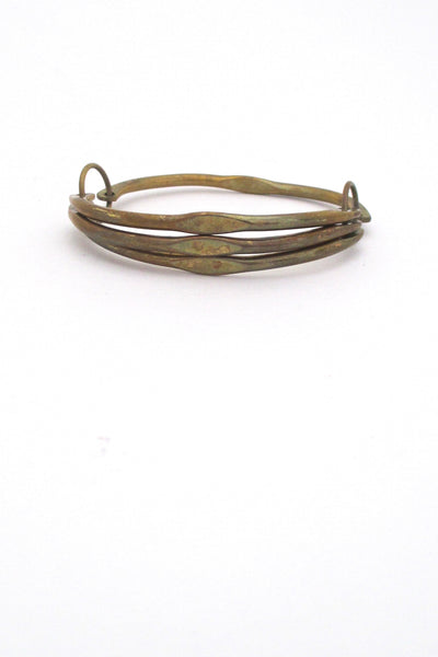detail Rafael Alfandary Canada vintage brass unusual hinged bangle bracelet
