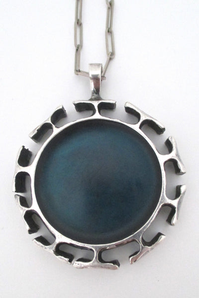 back Bernard Chaudron Canada large sculptural brutalist pendant necklace