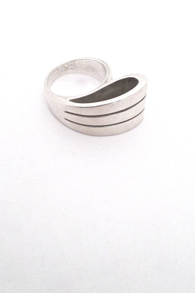 detail vintage silver large open loop ring Italy mid century modernist design