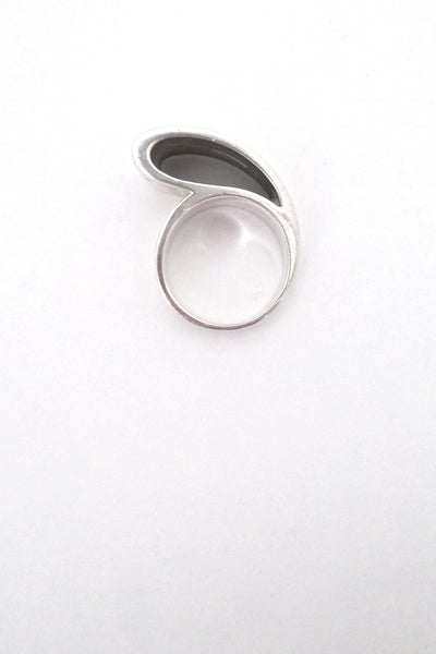 profile vintage silver large open loop ring Italy mid century modernist design