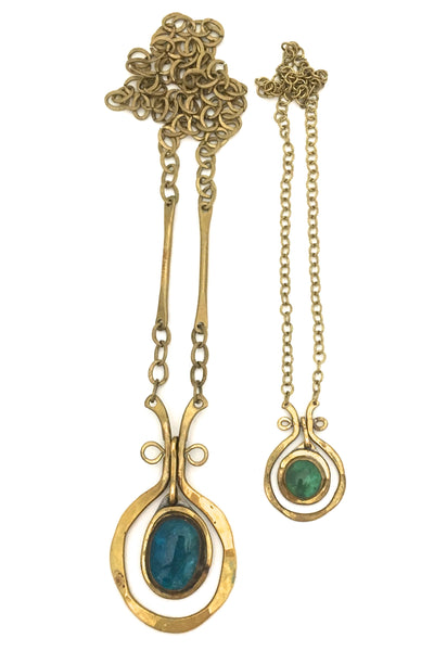 Rafael Canada large brass classic kinetic necklace ~ aqua stone