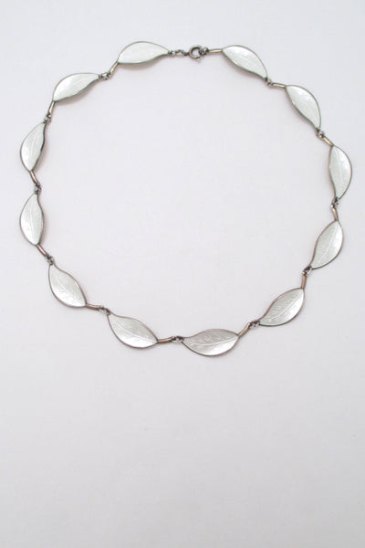 David-Andersen silver enamel white leaf necklace - Willy Winnaess