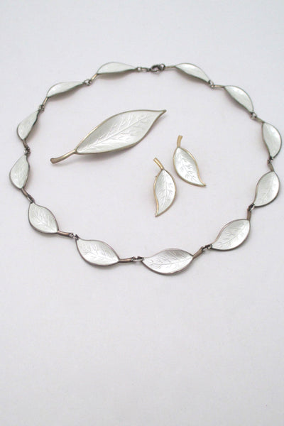 David Andersen vintage silver enamel leaf set Willy Winnaess Samantha Howard Vintage