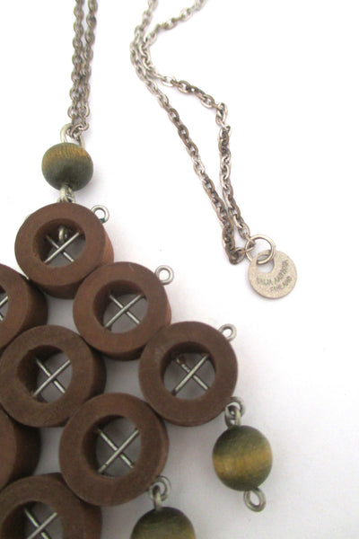 aarikka large green & tan kinetic pendant necklace