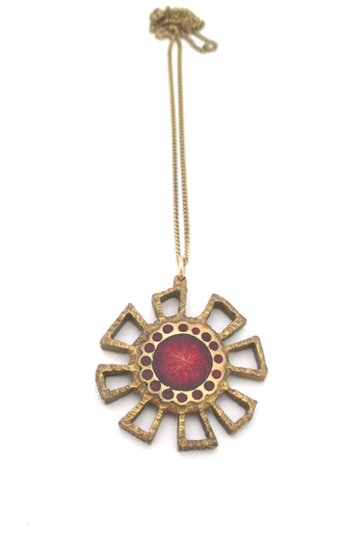 Bernard Chaudron double sided red flower necklace