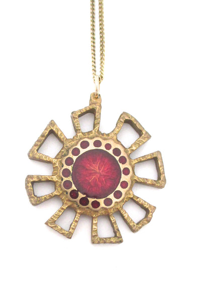 detail Bernard Chaudron Canada vintage brutalist bronze two sided red flower necklace