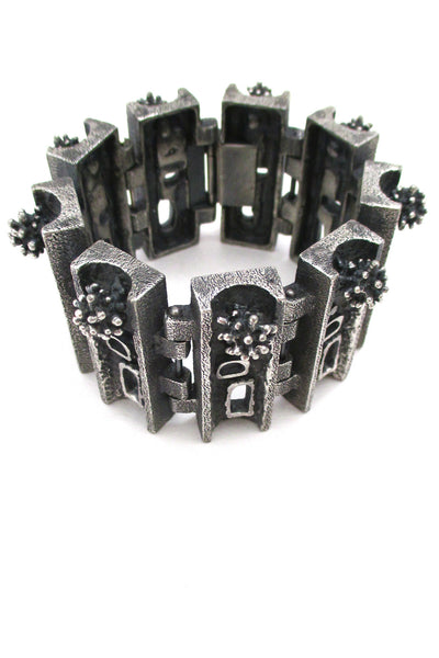 Guy Vidal Canada massive brutalist pewter urchins & windows bracelet
