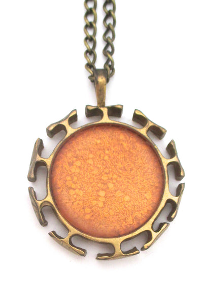 Bernard Chaudron large double sided, 2 colour pendant necklace