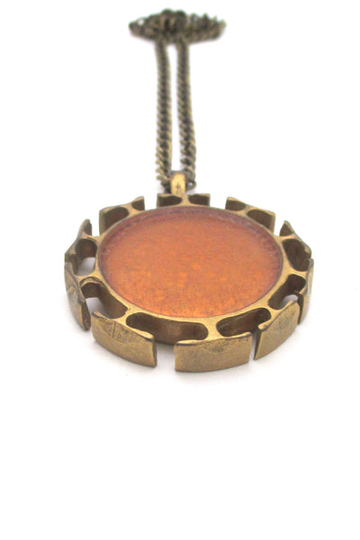 detail Bernard Chaudron Canada vintage brutalist bronze large two sided two colour pendant necklace
