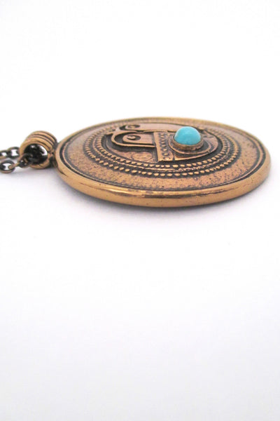 Jorma Laine bronze & turquoise face pendant necklace