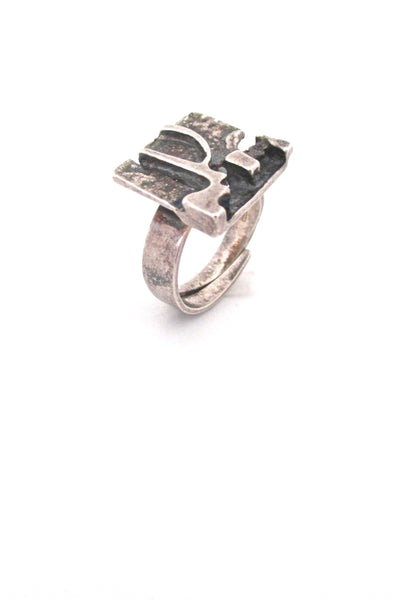 Jorma Laine silver 'textured square' ring