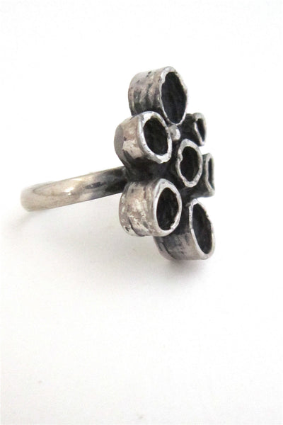 Robert Larin Canada brutalist pewter circles ring