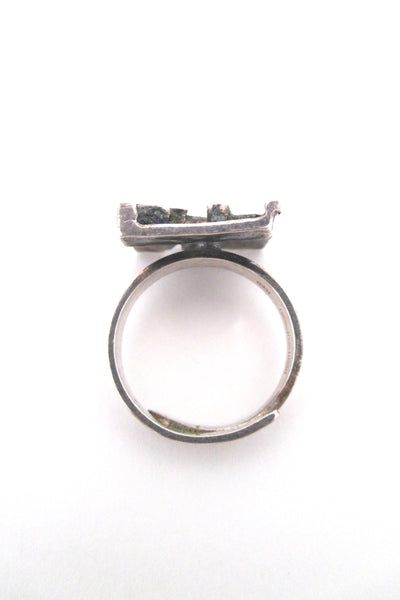 Jorma Laine pierced silver 'textured square' ring