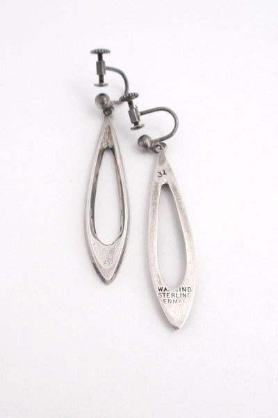 Poul Warmind long silver drop earrings