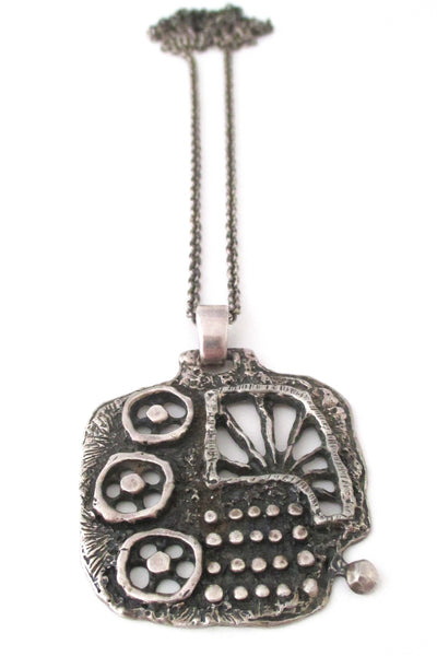 Guy Vidal Canada large brutalist pewter cogs pendant necklace