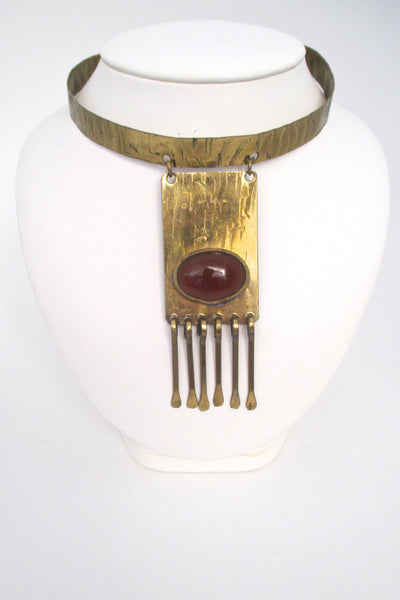 Rafael Canada early brass & ginger glass fringe choker