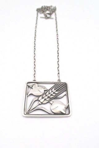 Georg Jensen '2 birds & wheat' necklace #93